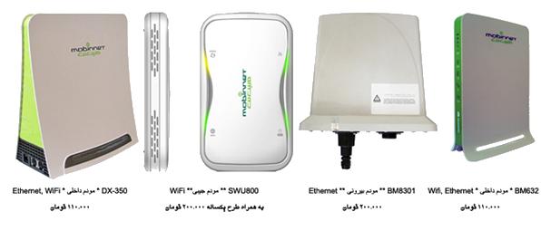 انواع مودم هاي TD-LTE شركت مبين نت در بازار